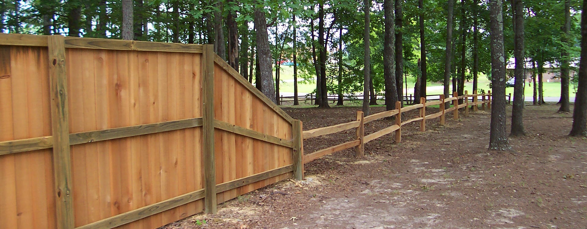 mixed privacy and post rail wood fence oxford ms