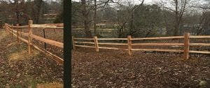 ranch style rail fence installation