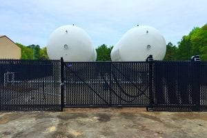 commercial chain link fence with privacy slats